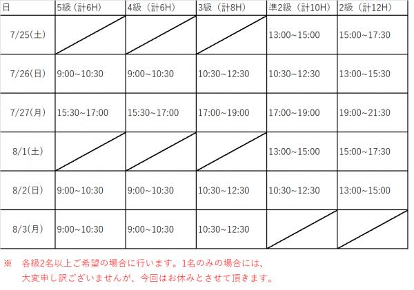 英検スケジュール